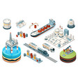 set isolated oil gas industry isometric icons vector image