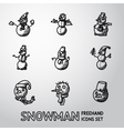 Set of freehand Snowman icons with different vector image