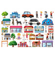 set outdoot objects and buildings transport vector image vector image
