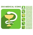 Snake Cup Icon and Medical Longshadow Icon Set vector image vector image