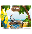 summer scene on beach with table and tucano on vector image