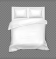 top view on double bed with matress white linen vector image