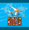 travel suitcase airplane and world map vector image vector image