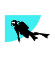 underwater diving silhouette a swimming diver vector image