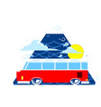 van road rrip triangle blue background vector image