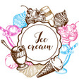 vintage background with ice cream vector image