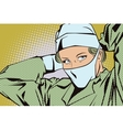 Woman doctor dress a mask on his face vector image