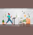 woman running on treadmill at home girl having vector image
