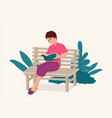 woman sitting on wooden bench while concentrated vector image