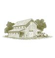Woodcut Farm Work Scene vector image vector image