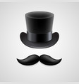Vintage top hat mustaches vector image