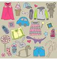Children clothes and toys design elements set vector image
