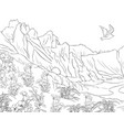 adult coloring bookpage a nature landscape vector image vector image