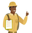 african traveler with clipboard giving thumb up vector image vector image
