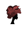 african woman wedding hairstyle head wrap vector image