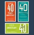 anniversasry background 40 years vector image vector image