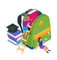 back to school isometric concept 10 vector image vector image