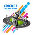 batsman playing cricket championship sports vector image vector image