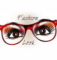 beautiful brown eyes in red glasses stylish look vector image