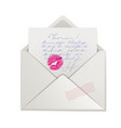 beautiful pink lipstick kiss on love letter vector image vector image