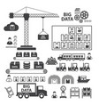 big data icons set vector image vector image