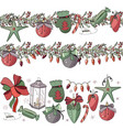 big set with vintage christmas decoration endles vector image vector image