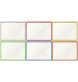 blank boards with six color frames vector image vector image
