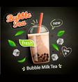 bubble milk tea in cup with tapioca on blackboard vector image vector image