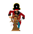 captain of pirate in wheel isolated boss vector image vector image