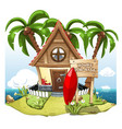 cartoon fairy house on the beach on a green hill vector image vector image