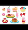 cartoon strawberry sweets dessert vector image vector image