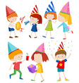 Children doing different things at party vector image vector image