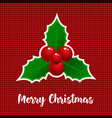 christmas card with holly mistletoe and lettering vector image