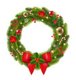 christmas wreath with red ribbon and bow vector image vector image