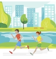 couple running in park vector image vector image