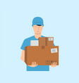courier delivery service mail parcels and boxes vector image