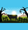 cow in the forest - cartoon landscape vector image