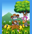 cute bunnies relax playing guitar with a nature ba vector image vector image