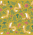 cute fox mushroom leave seamless pattern vector image vector image