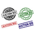 damaged textured auction bid stamp seals vector image