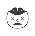 dead smile fase black and white emoji eps 10 vector image