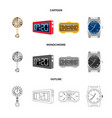 design of clock and time icon collection vector image vector image