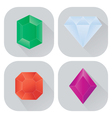 diamond icons set with long shadow vector image vector image
