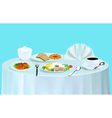 dinner with salad fish tea vector image vector image