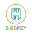 e-money linear outline style vector image