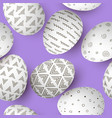 easter eggs seamless pattern set of white vector image