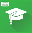 education hat icon business concept mortarboard vector image vector image