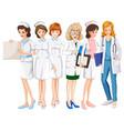female doctors and nurses in uniform vector image vector image