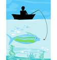 Fisherman catching the fish vector image