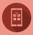 gift box with smartphone icon flat design vector image vector image